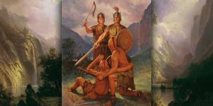 Captain Moroni and Zerahemnah by Del Parson.