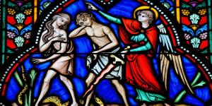 """The Sinners are Expelled from Paradise"" stained glass panel from Auxerre Cathedral"