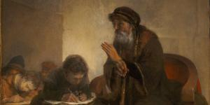 """Homer Dictating to Scribes"" by Aert de Gelder"