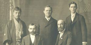 Elder Alma Taylor, Heber J. Grant, and Fellow Missionaries via Gospel Media Library