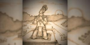 Nephi praying upon his tower. Drawing by Jody Livingston.