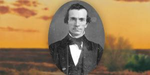 Portrait of Oliver Cowdery. Landscape of Far West by Al Rounds.