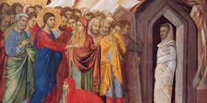 The Raising of Lazarus, Duccio di Buoninsegna. Image via Wikimedia Commons