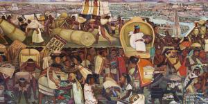 Aztec market of Tlatelolco by Diego Rivera
