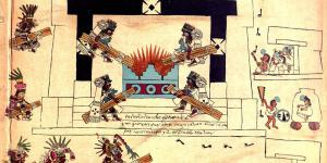 Representation of a new fire ceremony. Image from Codex Borbonicus via Wikimedia Commons.