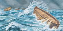 Painting of Jaredite barges by Robert T. Barrett. Image via lds.org.