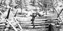 Etching of Joseph Smith Climbing Fence from The Smith Family Farm