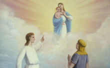 """""""Nephi's Vision of the Virgin and the Son of God"""" by C. C. A. Christensen, via history.lds.org."""