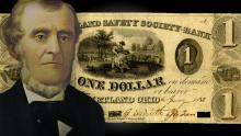 Portrait of Martin Harris by Lewis A. Ramsay. One dollar bank note of the Kirtland Safety Society.