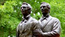 Statue of Joseph and Hyrum Smith. Image via Church of Jesus Christ.
