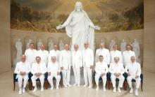 The Twelve Apostles and First Presidency of the Church of Jesus Christ of Latter-day Saints at the Rome, Italy Temple Visitor Center. Image via Church of Jesus Christ.
