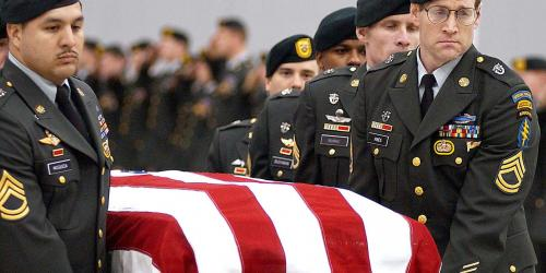 Just like the Nephites of old, warfare today is always  accompanied by death and mourning. The funeral procession of Sgt. 1st Class Nathan R. Chapman, the first U.S. soldier killed by hostile fire in Afghanistan. Image via Wikimedia Commons.
