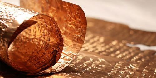 Replica of the Copper Scroll. Photo via TimesofIsrael.com