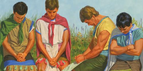 """Sons of Mosiah Praying"" via Gospel Media Library"