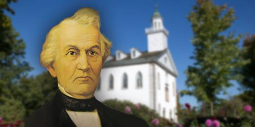 Portrait of David Whitmer by Lewis Ramsey. Image of Kirtland Temple via Church of Jesus Christ.