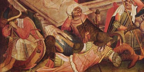 Sleeping guards (detail of the Resurrection of Christ) by Meister Francke