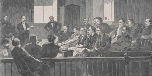 Jurors Listening to Counsel, Supreme Court, New York City Hall, New York. Drawn by Winslow Homer, 1869. Image via Met Museum.