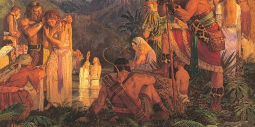 Alma Baptizes in the Waters of Mormon by Arnold Friberg