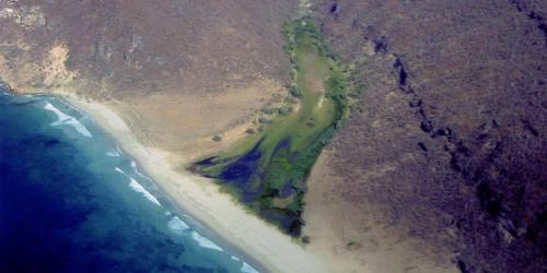 Aerial image of Kharfot, a likely location of Bountiful. Image from Lehi and Sariah in Arabia by Warren Aston