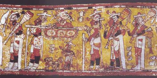 Mayan Art depicting a royal entry. Image via the Maya Vase database
