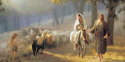 Joseph and Mary riding to Bethlehem