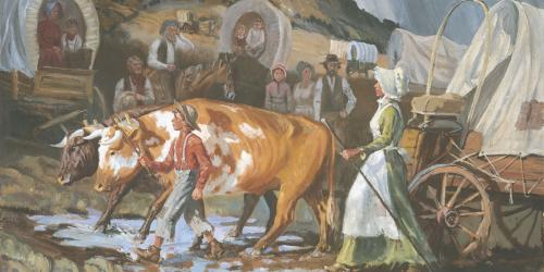 Mary Fielding Smith and Joseph F. Smith Crossing the Plains, by Glen S. Hopkinson via lds.org
