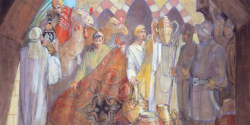 Nephi and his brothers giving their riches to obtain the Plates. Artwork by Minerva Teichert