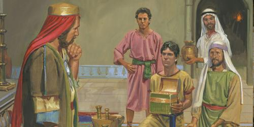 Lehi's Sons Offering Riches to Laban by Jerry Thompson