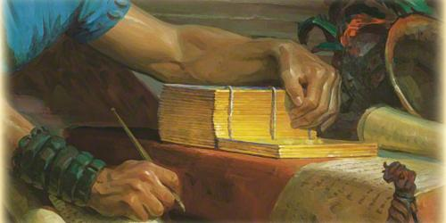 Mormon Abridging the Plates by Tom Lovell