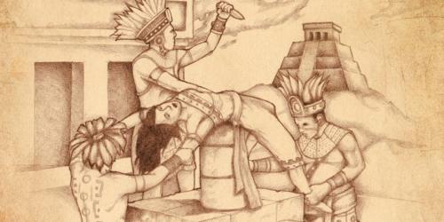 Lamanites sacrificing a woman by Jody Livingston